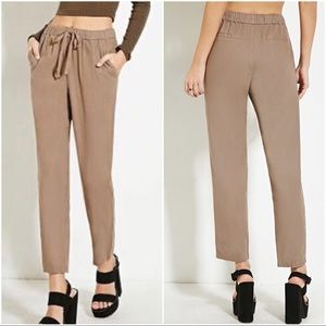 NWT Forever 21 Taupe Woven Linen Pants